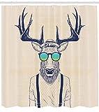 Abakuhaus Duschvorhang, Illustration von Hirsch REH im Hippie Hipster Look Vintage mit Sonnenbrille in Creme Farbton, Blickdicht aus Stoff inkl. 12 Ringe für Das Badezimmer Waschbar, 175 X 200 cm
