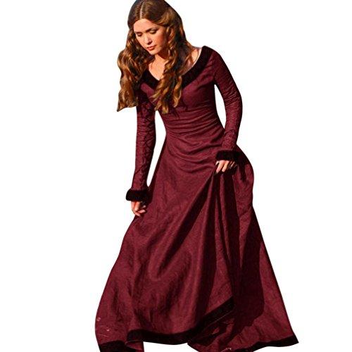 Bekleidung Damen Kleider,TWBB Jahrgang O-Ausschnitt Mittelalterkleid Cosplay Kostüm Prinzessin Renaissance Gothic Bodenlänge (L, Rot) (Mini-rock Plus)