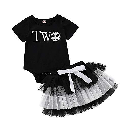 Halloween Kostüme Baby,Schädel Strampler Tütü Kleid Mädchen Outfits Niedlichen Tüll Röcke Cosplay Party Verkleidung Kurzarm Tüllrock Fotoshooting Kleid Fasching Karneval Geschenk - Niedlichen Baby Monster Kostüm