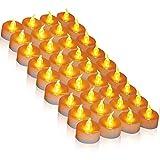 LEDKerzen, 36 LED Teelichter Kerze flammenlos hell blinkend elektrische Gefälschte Kerze nach Hause Weihnachtsschmuck Hochzeitstisch Geschenk im Freien (warmes Gelb 1 × 36)