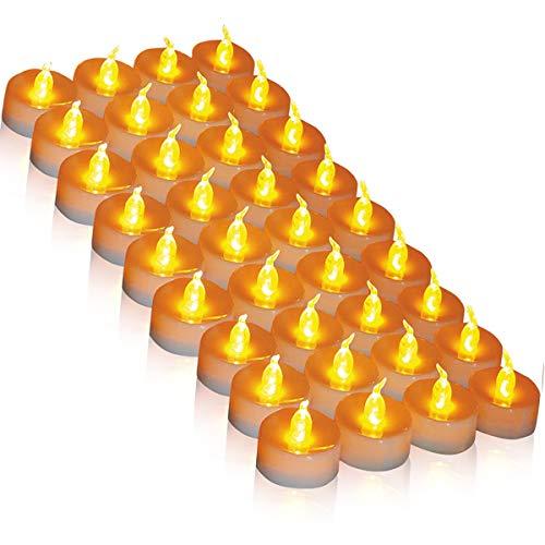 LED Kerzen, 36 LED Teelichter Kerzen flammenlos hell blinkend elektrische Gefälschte Kerze nach Hause Weihnachtsschmuck Hochzeitstisch Geschenk im Freien (warmes Gelb 1 × 36)