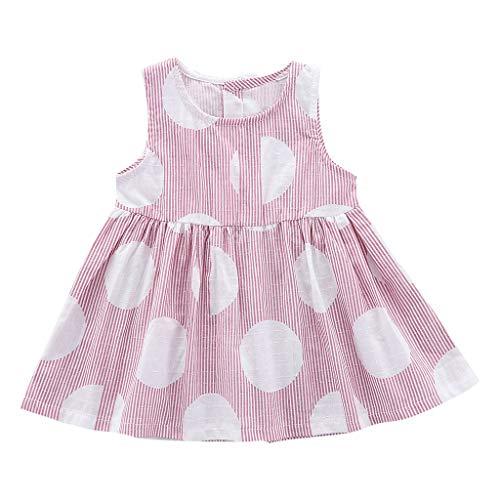 KIMODO Kleinkind Baby Mädchen Kleid Gestreifte Party Kleid Urlaub Strandkleid Sommer Ärmellose Prinzessin Outfit Kleidung