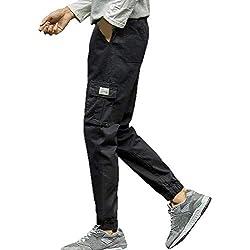 JiaMeng Moda de Trekking Pantalones de Softshell Impermeables Resistente al Viento Transpirable Pure Color Pocket Nine Points Small Feet Pantalones Casuales más Sueltos(Negro,XXXXXXXL)