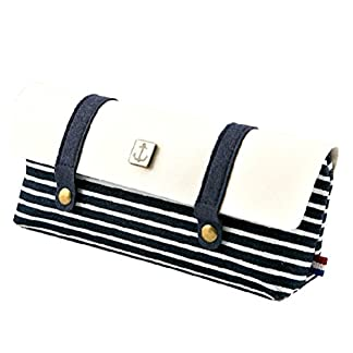 hugestore Vintage Navy Stripe lienzo lápiz estuche bolsa bolsa caso bolsa de papelería bolsa de cosméticos para niñas niños