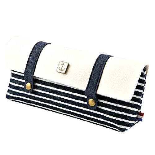 Stripe Pattern Retro penna matita Pouch Bag Astuccio Cosmetici Borsa per studenti ragazzi ragazze blu (Stripes Pouch)