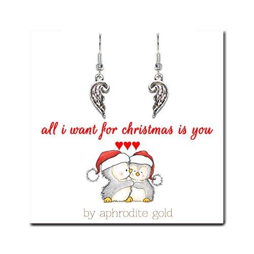 Biglietto di Natale con gioielli in argento tibetano calza della Befana & # x2665; & # x2665; & # x2665; All I Want for Christmas Is You & # x2665; & # x2665; & # x2665;, placcato argento, cod. x163