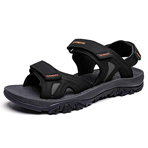 Sandale Herren Sandalen Outdoor Trekking Wanderschuhe Herren Schnell Trocken Outdoor Sandalen Leichte (45 EU, Schwarz)