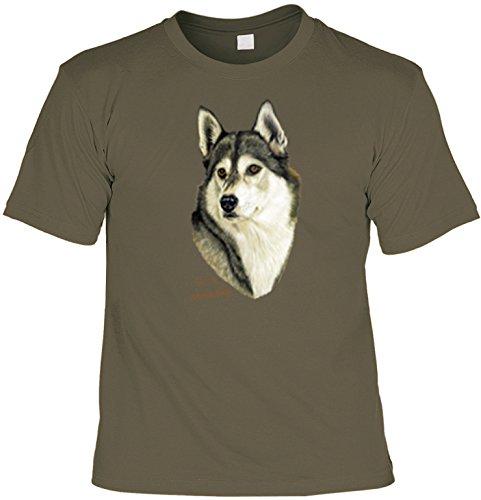 Hunde-Shirt/ T-Shirt mit Dog-Aufdruck: Sibirischer Husky - schönes Geschenk für Hundefreunde Oliv