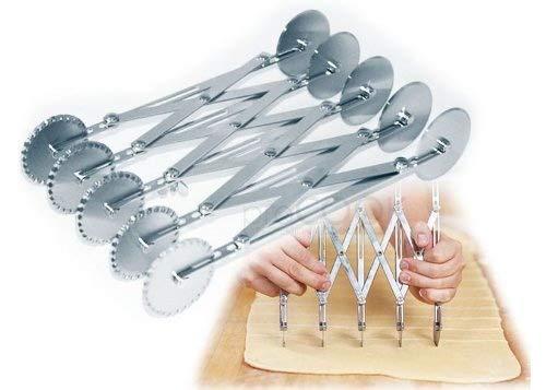 Tagliapasta estensibile 5 rotelle lisce + 5 rotelle festonate
