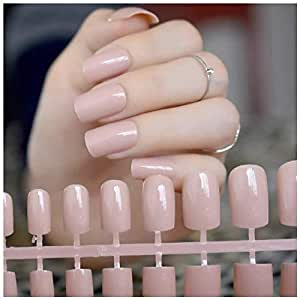 VIKSON INTERNATIONAL Gorgeous Nude set of 24 pcs Long French tip Artificial Art Design False Nails with nail glue