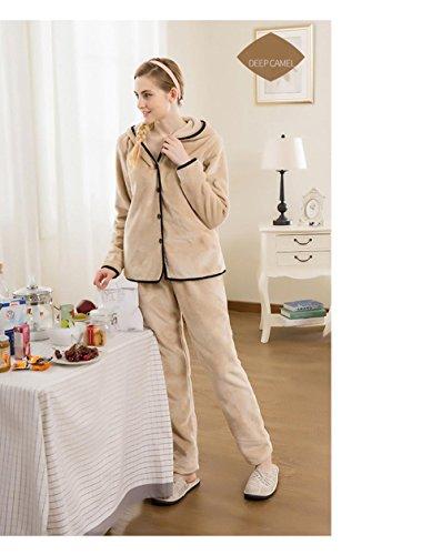 Neueste Frauen Langarm mit Kapuze Flanell Pyjama Morgenmantel Winter Nachtwäsche, die draußen getragen werden kann , camel , (Wunderland Für Kostüme Winter Frauen)