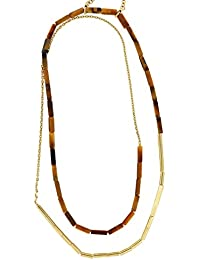 Joop! Damen Halskette Edelstahl rhodiniert Tiger'S Eye 85 cm S.JPNL10565BA00