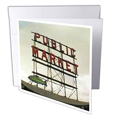 3D Rose GC 14265_ 1Public Market Seattle–Grußkarten, 15,2x 15,2cm Set von 6