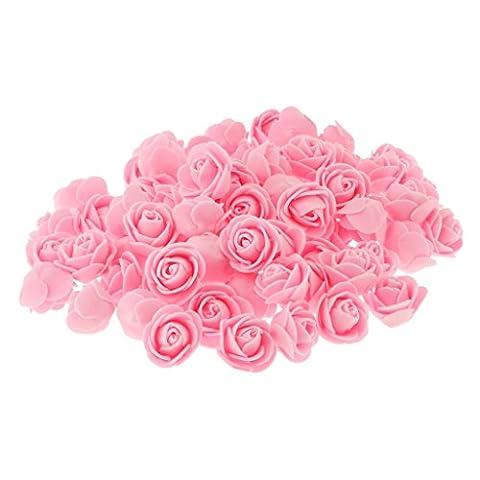 Lot de 100 Tête de Rose Plastique Artificielle Fleur Corolle