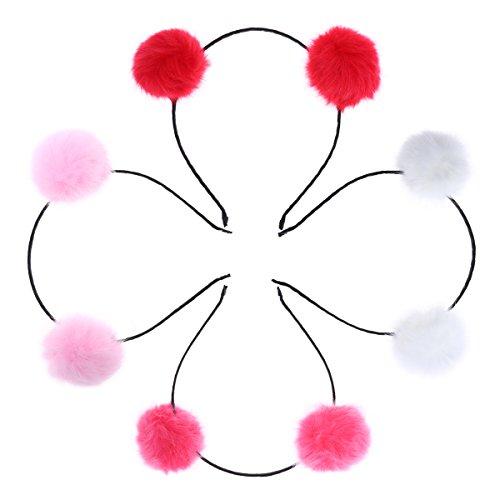 Pom Pom für Mädchen in Rot Pink und Weiß 4pcs ()