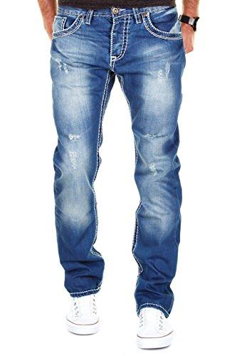 MERISH Herren Jeanshose Blue Denim Bleached Dicke Naht Destroyed Trend Usedlook Jeans Hose Neu J9156 32/32
