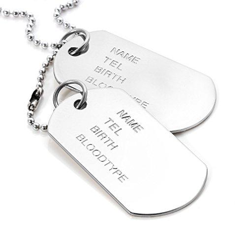 MENDINO Erkennungsmarken aus Leichtmetalllegierung für Herren, im Armee-, Punk-, Funkstil, Silber-Anhänger mit Halskette, 2Stück