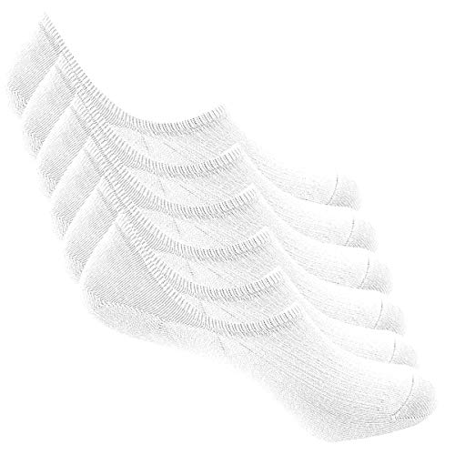 Bestele 6 Paar Unsichtbare Sockne für Damen und Herren,Sneaker Socken Baumwoll Unsichtbar Kurzsocken rutschfeste für Loafers Boots Schuhe (34-40, 6*Weiß)