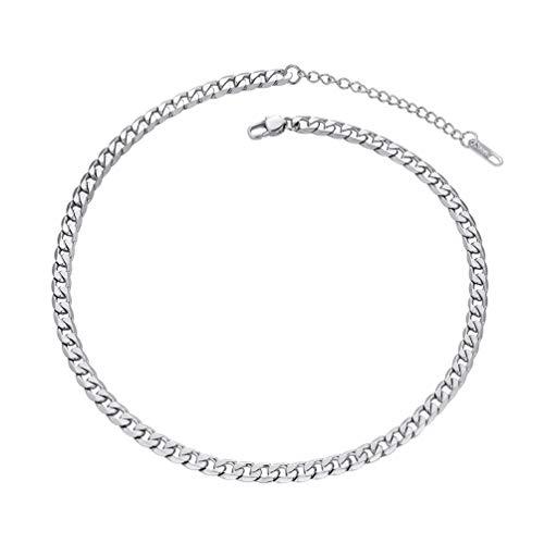 PROSTEEL Choker Halskette 316L Edelstahl Panzerkette 5mm 36+5cm Kurze glänzend Gliederkette verstellbar Damen Mädchen Collier Geschenk für Weihnachten Valentinstag