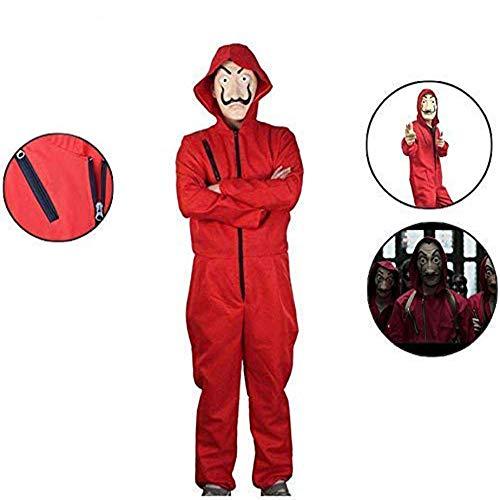 Costume La Casa De Papel Abito per Adulti Camera di Carta di Lino Rosso Costume da Rapinatore La Casa di Carta per Il Costume Maschera per La Festa