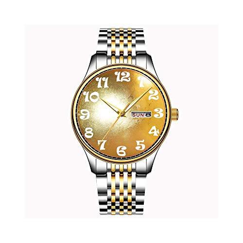 Uhren Herrenmode Japanische Quarz Datum Edelstahl Armband Gold Uhr Gold Herzen Konfetti Personalisierte Nachricht Armbanduhren