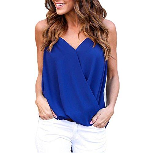 CYBERRY.M T-shirt Summer Femme Manche Sans Col V T-shirt Blouse Bleu
