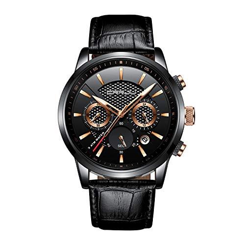 Mode Herrenuhren Quarz Analog Lederarmband Armbanduhr mit Chronograph Wasserdichte Datumsuhr mit Schwarzem Zifferblatt (Hilfe Rufen-linie)