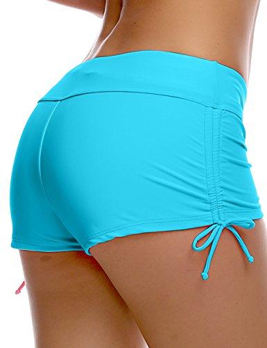 OUO Damen UV Schutz Wassersport Schwimmen Bikinihose Badeshorts Schwimmshorts Blau