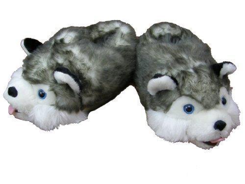 Plsch-Hausschuhe-Husky-Gre-S-bis-XL-L