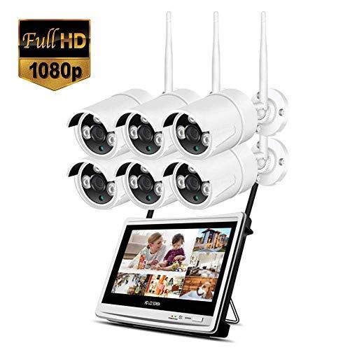 Lqqsxt Kamera 8-Kanal-Full-HD-1080P-Ausgang Wireless-Smart-NVR-WiFi-CCTV-Sicherheitssystem mit 12-Zoll-LCD-Monitor, 2MP-Außenkamera und 2TB-Festplattenlaufwerk (2/4/6/8 CH) (größe : C)