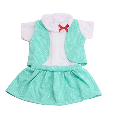 MagiDeal 3 Stück / Set Freizeitkleidung Outfit Für 18 '' American Girl Puppe - Minze Grüne American Baby-puppe