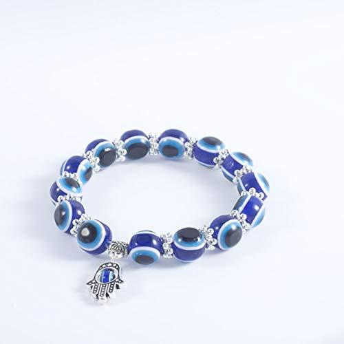 Elviray Vintage Hand Dangle Evil Eye Ball Beads Elastico Stretch Wrap Charm Bracciale Gioielli Blu per Le Donne
