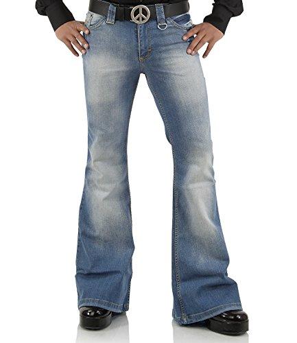 Comycom Jeans mit Schlag verwaschen Star Blue 72 34/32 - 70er Jahre Jean