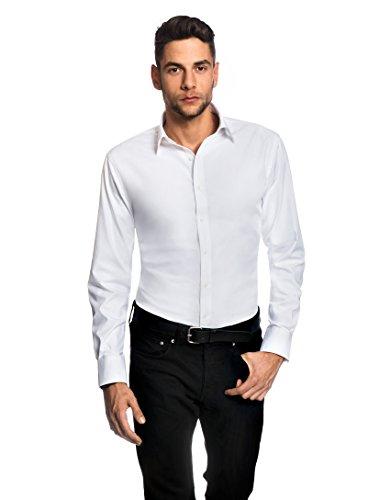 EMBRÆR Herren-Hemd Slim-Fit Tailliert Bügelfrei 100% Baumwolle Uni-Farben - Männer Lang-Arm Hemden für Anzug mit Krawatte Business Hochzeit Freizeit oder Unter Pullover Weiß 39/40