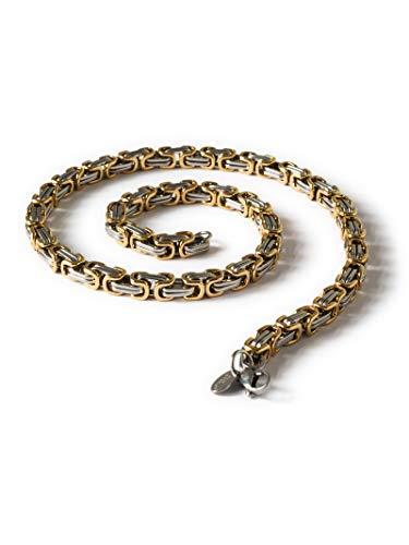 Fly Style 9 mm Königskette oder Armband aus Edelstahl in 4 Farben | 19-100 cm, Farbwahl:Silber/Gold, Längen:22 cm
