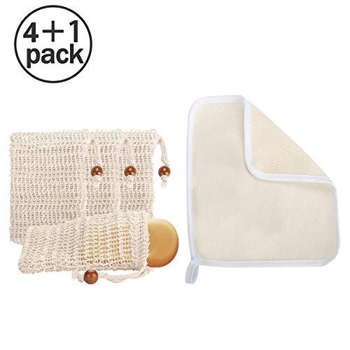 Aitsite 4 Stück Seifensäckchen und 1 Stück Bade Quetschhandtuch, Seifensäckchen Sisal, Seifenbeute Natur, Benutzt für zum aufschäumen und trocknen der Seife, Peeling, Massage -