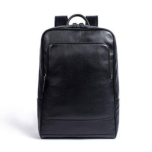 Leathario Herren Hochwertiges Echtleder Rucksack Backpack für Arbeit Freizeit Schwarz