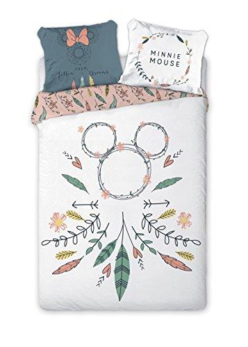 Aymax S.P.R.L. - Juego de cama, diseño de atrapasueños en forma de Minnie Mouse - 100 % algodón-Funda de edredón de 140x 200 cm + funda de almohada de 65x 65 cm