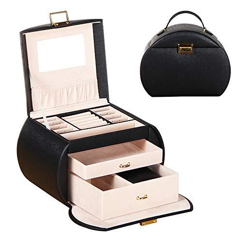 Zeitgenössische Holz-schmuck-kästen (LANGYINH Schmuck Aufbewahrungsbox Vintage Geschenkbox Abschließbare Organizer Vitrine mit Spiegel, Tolles Mädchen Geschenk - 8,6x6,1x6,7 Zoll,4)