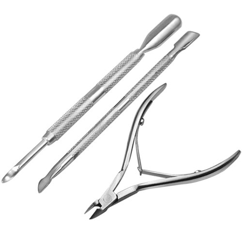 SWT 3 PCS Stainless Steel Nail Cuticle Spoon Pusher Remover Cutter Nipper Clipper Set