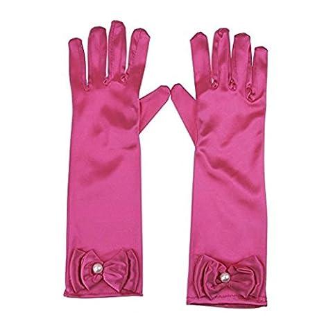 RUNHENG Kids Stretchy Satin Long Finger Dress Gloves