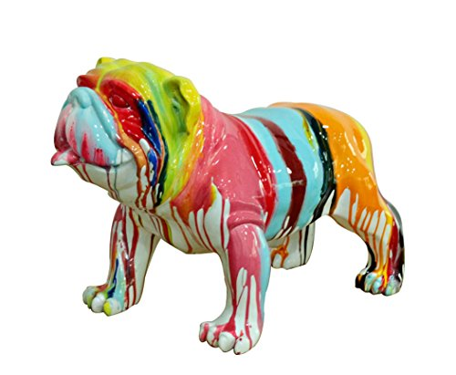 Meubletmoi Chien Bulldog Figurine décorative - Couleur laquée Jets de peintures Multicolores - Objet Design Moderne