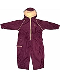 Hippychick Fleece Lined Waterproof All-in-One Suit - Burgundy/Sand, 3-4 Years