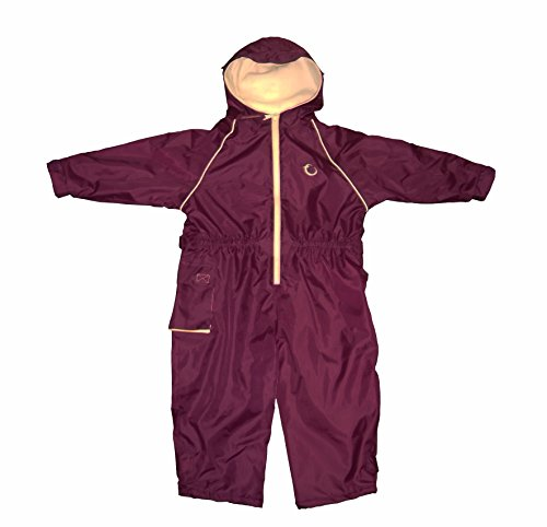 Hippychick Fleece Lined Waterproof All-in-One Suit - Burgundy/Sand, 2-3 Years