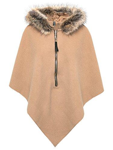 Madonna Damen Poncho Jacke Cardiagan Pullover XXL Fell Cape Gr. 36 38 40 S M L, Farbe:Camel, Größe:One Size