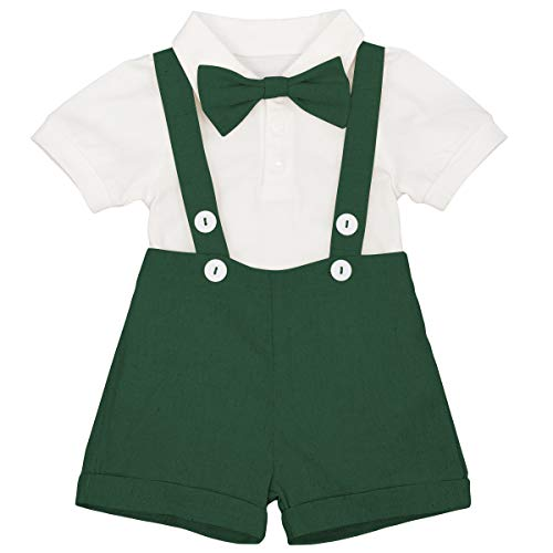 IWEMEK Baby Junge Gentleman Outfits 1. / 2. Geburtstag Formal Anzug Neugeborenes Kurzarm Strampler + Hosen mit Hosenträger + Fliege Hochzeit Taufanzug Tuxedo Smoking Kostüm Grün 6-12 Monate