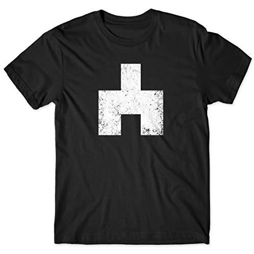 LaMAGLIERIA Camiseta Hombre Black Mirror Bandersnatch White Bear Symbol Cod Bm03 - Camiseta 100% algodón TV Show t-Shirt, L, Negro