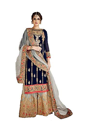 Style Amaze Women\'s Latest Blue Color heavy Embroidered New Plazzo Style Wedding Collection Festival Collection Party waer Traditiona wear Salwar Suit Dress materials