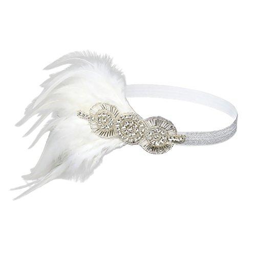Homyl Damen Stirnband Strass Federn Haarband 20er Jahre Vintage Kostüm Zubehör Flappers Kopfschmuck Haarzubehör Kopfstück - Weiß, 21cm