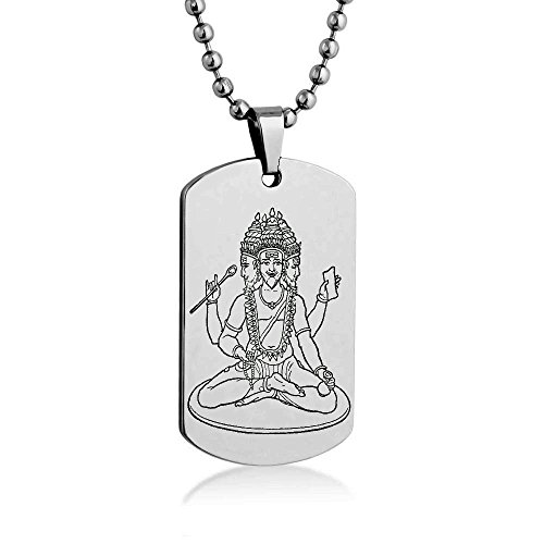 brahma-engrave-dog-tag-necklace-pendant-24-inch-stainless-steel-ball-chain-with-giftpouch-and-keyrin